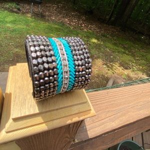 Beaded black nuggets, crystal & turquoise cuff.